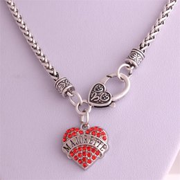Drop Shipping New Arrival rhodium plated zinc studded with sparkling crystals MAJORETTE heart pendant wheat chain necklace