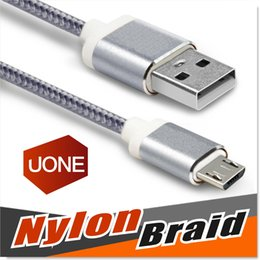 Wholesale Samsung Galaxy S7 I6 Micro USB Cable Nylon Braided ft Cable High Speed USB A Male to Micro B Aluminum Shell Connectors for S6 S4 Note