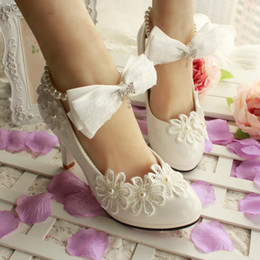 2016 High Heel Wedding Shoes with Bow and Pearls Appliques PU Bridal Shoes Free Shipping 3cm 4.5cm 11cm