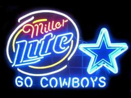 2017 signes de cow-boy New Miller Lite Dallas Cowboys verre Neon Sign lumière Beer Bar Pub Arts Artisanat Cadeaux d'éclairage Taille 22