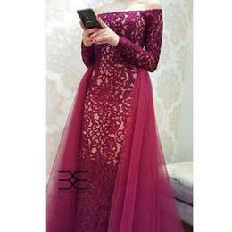 2019 Long Sleeves off shoulder Wine Red Lace With Tulle Tail Evening Dresses Women's Birthday Wear V-Neck Maxi floor length prom gowns