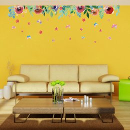 Wholesale 50 cm Wall Stickers DIY Art Decal Removeable Wallpaper Mural Sticker for Bedroom Living Room Store XH7212 Beautiful Flowers
