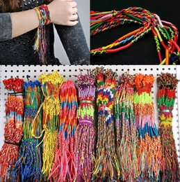 50pcs lot Wholesale Rainbow Silk Macrame Hand-weave Braid Friendship Cords Strand Bracelet Anklets