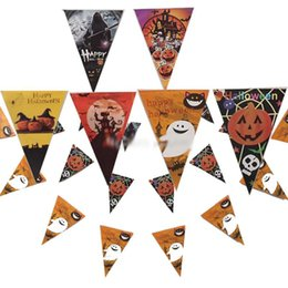 2016 Halloween supplies bar decoration cardboard 30cm(12inch) pull banner banner flag pumpkin skull props Free shipping