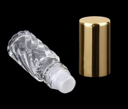 5ml Roll On Empty Glass Bottles Essential Oils - Refillable Glass Roller Ball Roll-On - Gold Aluminum Caps 200Pcs lot By DHL Free Shipping