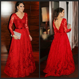 Latest Evening Gown Designs Long Sleeve Red Lace Evening Gowns Elegant Party Dresses Lace Beaded Formal Party Prom Gowns