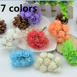 15% off! 1000pcs lot Mini Foam Rose Artificial Flower Bouquet Multicolor Rose Wedding Flower Decoration Scrapbooking Artificial Rose Flower