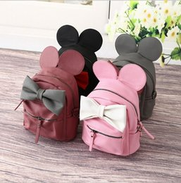 Wholesale Hug Me Girls Backpack New Korean Cute Cartoon Mickey Design Backpack Fashion Bow Girls Bags with Ear M