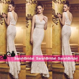 Wholesale Paloma Blanca Separates Two Pieces Mermaid Wedding Dresses with Sheer V Neck Crop Top Fit and Flare White Ivory Summer Canada Bridal Gowns