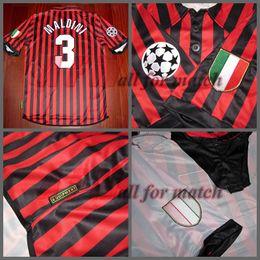 Wholesale Champions League AC centenary Match Worn Player Issue Shirt Jersey Short sleeves Maldini Shevchenko Soccer Custom Patches Sponsor