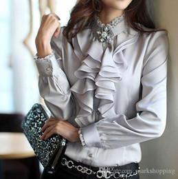 2016 women's plus size S-XXXL high quality silk satin shirt heap turtleneck ruffle OL work formal business blouse
