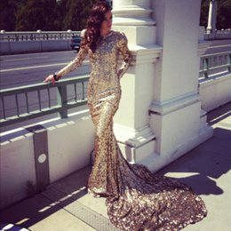 2016 New arrival Mermaid High Collar Chapel Train Gold Sequined Prom Gowns With Long Sleeves Sequin Shinning Formal Evening