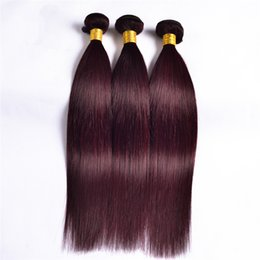 8A Indian Straight 99J Hair Weaves 3Pcs Lot Wine Red Burgundy Human Hair Extensions 99J Straight Hair 3 Bundles
