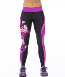 Wholesale NEW Sexy Girl Women Alice in Wonderland Cheshire cat D Prints High Waist Running GYM Tights Fitness Sport Leggings Yoga Pant