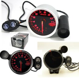 Wholesale 3 quot mm Red Led DE Style Tachometer Rpm Gauge Stepper Motor With Peak And Waring Cylinder V Auto Gauge