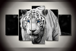 5 Panel Free Shipping Hot Sell Modern Wall Painting White Tiger Home Wall Art Cheap Picture Paint on Canvas Prints art