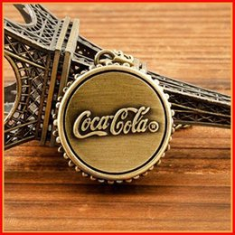 Wholesale Fashion Coca Cola bottle cap Pocket Watch Necklaces brone Cola pendants necklace watches for men women jewelry Christmas Gift