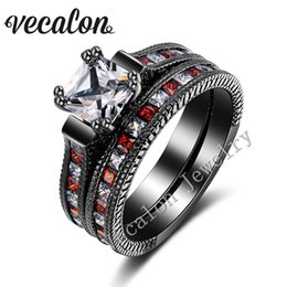 Vecalon Antique Wedding Band Ring Set for Women Red Garnet Simulated diamond Cz 14KT Black Gold Filled Female Engagement ring
