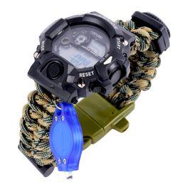 Wholesale Waterproof Paracord Travel Digital Watch Survival Bracelet Compass Flint Whistle Best