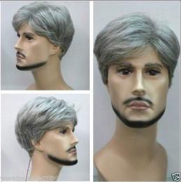 Promotion pleine perruque de dentelle hommes Livraison gratuite de haute qualité Mode image pleine dentelle perruques New courtes hommes droites perruque grise cheveux