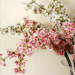 39 Inch Romantic Artificial Branches of Peach Cherry Blossom Silk Flowers Home Wedding Decoration Flower Free shipping