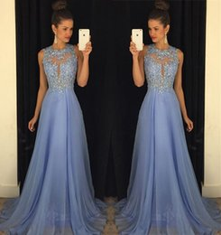Floor Length Lavender Chiffon Prom Dresses 2019 Modest Sheer Neck Appliques Cutaway Sides Long Homecoming Dresses Evening Gowns