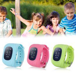 Fashion Kids Baby Safe GPRS LBS GPS Tracker Locator Q50 Smart Wrist Watch For Children Wearable OLED LCD Screen SIM Card SOS Emergent Call
