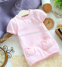 hot selling children's clothing female child sweater dress baby top long design sweater pink sweater Free shipping