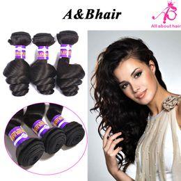 Wholesale 8A Brazilian Virgin hair bundles Indian loose wave hair weave bundles AB HAIR PRODUCTS unprocessed loose wave human hair