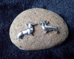 Wholesale 50pcs x12mm Sausage dog Charm Accessories Vintage Antique Silver Pendant DIY Bracelet Necklace Jewelry Making Finding