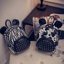 Wholesale Hug Me Girls Backpack New Korean Cute Cartoon Zebra Cow Backpack Fashion Print Girls Bags with Ear AA
