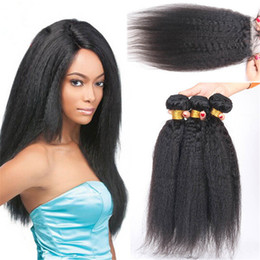 Wholesale 9A Peruvian Kinky Straight Hair With Closure Human Hair Bundles Italian Coarse Yaki With X4 Free Part Closure