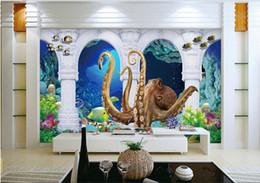 3d wallpaper custom photo non-woven mural wall sticker bottom of the sea octopus pillar painting picture 3d wall room murals wallpaper