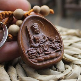 Wholesale the treasure from China art wood crafts Buddhism blessing brown color wood made handmade wood carving badajinggang8