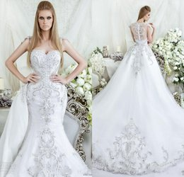 Wholesale Dar Sara Luxury Mermaid Wedding Dresses Crystals Beading Sheer Vintage Fall Winter Sexy Cheap with Detachable Train Bridal Gowns
