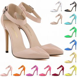 Zapatos Mujer Fashion Womens Pointed Toe Patent High Heels Sexy Ankle Strap Sandals Pumps Ladies Party Shoes Size US 4-11 D0081