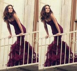 Burgundy Mermaid Prom Dresses 2016 Sweetheart Pleats Ruffles Formal Evening Gowns Zipper Back Organza Vestidos Celebrity Party Dress