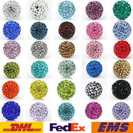 Wholesale Shamballa Loose Beads Crystal Drilling Ball Czech mm Mixed Color Micro Pave CZ Disco Ball Crystal Bead Bracelet Necklace Beads WX N28