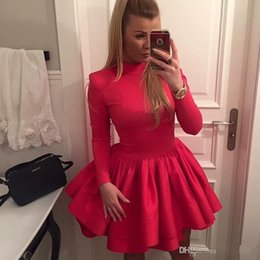 2016 New Red Short Mini Homecoming Dresses A line Girls Cocktail Party gowns High neck Full Long Sleeve Prom Dress Vestido de Festa
