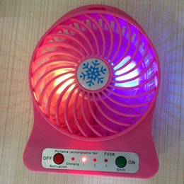 Wholesale Mini Portable Fan Multifunctional USB Rechargeable Kids Table Fan LED Light Battery Adjustable Speed F95B With LED Light In Stock