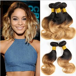 1B 27 Honey Blonde Ombre Virgin Hair Body Wave Weave 3 Bundle Deals Lot Two Tone Coloed Ombre Wavy Remy Human Hair Extensions