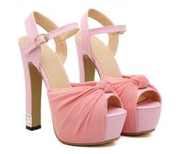 2017 taille 34 talon rose 2016 nœud en mousseline strass plate-forme ultra hauts talons sandales femmes en marole mariage chaussures ivoire rose noir taille 34 à 39 taille 34 talon rose sortie