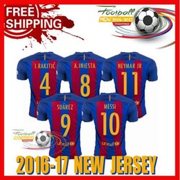 Wholesale New Best Quality BARCELONAIZERS shirts Soccer MESSI NEYMAR JR SUAREZ PIQUE HOME Custom shirt