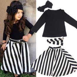 2019 Brand Spring Autumn Girls Cotton Clothes Sets Girls Long Sleeve Casual Striped Skirt Four Pieces Clothing Set Hot Sale