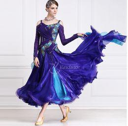 blue long sleeve shoulder cutout ballroom Waltz tango salsa Quick step competition dress one shoulder cutout