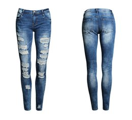New 2016 Hot Fashion Ladies Pants Stretch Womens Bleach Ripped Skinny Jeans
