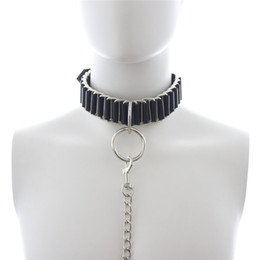 Wholesale New pattern Adult Fantacy Pony Play Sex Bondage Neck Collar With Leash Restraint Fetish Adjustable Neckcollar Black