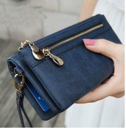 Promotion à double bourse de portefeuille Mode Femmes Portefeuilles Dull Polish Leather Portefeuille Double Zipper Day Clutch Purse Wristlet Porte-monnaie Porte-monnaie Billetera