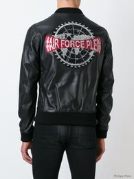 Wholesale Hot Low Price Autumn Germany Luxury Trend Men s Philipp Air Force PP Logo Motorcycle Zipper Leather Jacket Coat