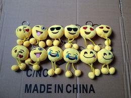 Wholesale DHL ship Emoji Smiley Keychains cm cellphone pendant cute yellow Stuffed Plush doll toy bag pendant